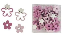 Kytičky dřevěné mix - bílo-růžové - 12 ks