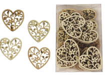 Dřevěné srdíčko ornament natur/glitr - 1 ks