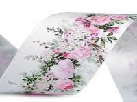 Stuha satén 40mm - bílá s květinami - 1m
