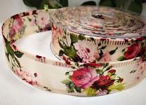 Stuha vlizelín 40mm - krémová s květinami - 1m