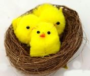Hnízdečko se 3 žlutými kuřátky