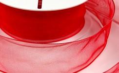 Stuha organza drát 40 mm - červená -1m