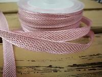 Stuha drát - bílo-růžová - 10mm/1m