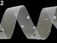 Stuha monofilová bílá se zlatými srdíčky - 1m
