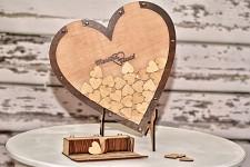 Dřevěné srdce pro vzkazy hostů vkládací - světlé