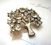 Spona (brož) - strom stříbrný
