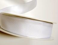 Stuha taftová s dátem 40 mm/1 m- bílá
