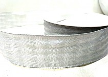 Tkaná stuha s drátem 40 mm - sv.šedá -  1 m