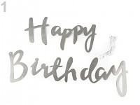 Papírová girlanda Happy birthday - stříbrná