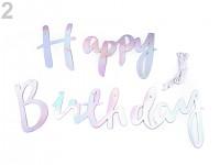 Papírová girlanda Happy birthday - stříbrná holografická