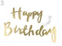 Papírová girlanda Happy birthday - zlatá
