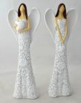 Anděl květinový hnědovlasý - bílý se srdcem - 16 cm