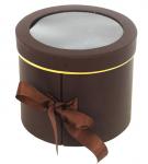Dárkový (květinový) box - kulatý hnědý