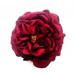 Hlavička čajové růže 10 cm - bordo