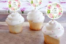 Zápichy do cupcakes - věnec hortenzie - 12 ks
