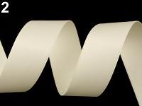 Stuha atlasová oboulící - krémová matná - 26 mm/ 10 m
