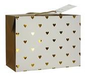 Dárková krabička s uchy - zlatá srdíčka - střední