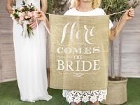 Nápis - Here comes the bride - do svatební uličky