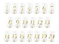 Čísla stolů zlatá - čirý plast - sada 20 ks