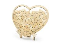 Dřevěná kniha hostů - srdce vhazovací se stojánkem