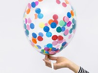Balonky průhledné s konfetami - 6ks