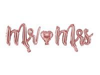 Fóliový nápis Mr. a Mrs. - růžovozlatý
