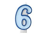 Narozeninová svíčka modrá - číslo 6