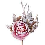 Růže starorůžová glitr - 27 cm