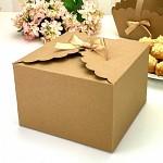 Krabička na výslužku hranatá kraft s mašličkou - více barev
