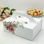 Krabička na výslužku maxi - bílá s růží