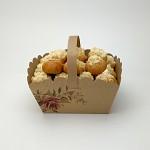 Svatební košíček na koláčky velký - kraft s růží