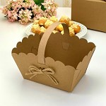 Svatební košíček na koláčky velký - kraft s jutou