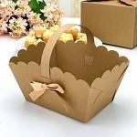 Svatební košíček na koláčky velký - kraft s mašličkou - více barev