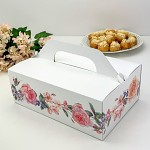 Krabička na výslužku maxi bílá s květinovým lemem