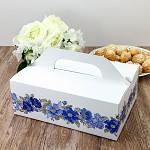 Krabička na výslužku maxi bílá s modrými květy
