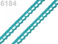 Krajka paličkovaná 9 mm   - tyrkysová - 1m