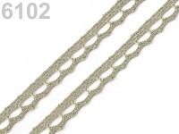 Krajka paličkovaná 9 mm   - olivová - 1m