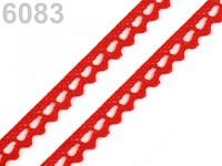 Krajka paličkovaná 9mm  - jasně červená - 1m