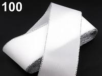 Stuha taftová 40mm/10m - bílá - stříbrný lem