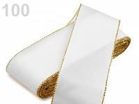 Stuha taftová 40mm/10m - bílá - zlatý lem