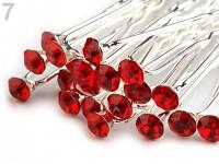 Stříbrné pérko se štrasovou peckou - červená
