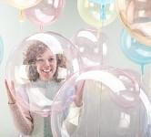 Průhledný balónek 45cm - růžový