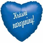 Fóliový balónek srdce- Krásné narozeniny! - modrý