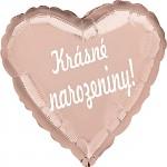 Fóliový balónek srdce- Krásné narozeniny! - rosegold