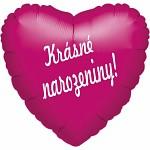 Fóliový balónek srdce- Krásné narozeniny! - bordó