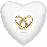 Fóliový balónek srdce - prstýnky
