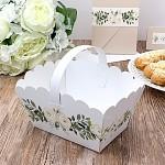 Svatební košíček na koláčky velký - bílý s květy