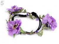 Pružná čelenka do vlasů s lučními květy - fialová