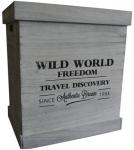 Dřevěná úložná krabice šedá velká - Wild world freedom