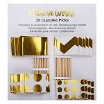 Cupcake napichovátka - vlajky bílo-zlaté - 20ks